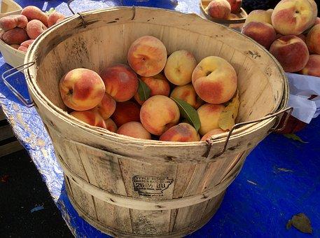 Peaches, Fruit, Farmers Market, Crate, Barrel, Fresh
