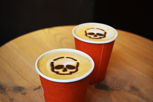 Coffee Art, Halloween Coffee, Takeaway, Skull, Autumn