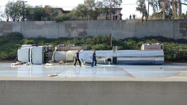 Truck, Accident, Spill, Tanker, Milk, Transport