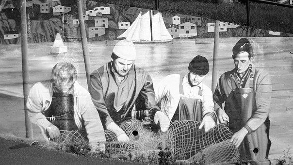 Mural, Painting, Fishermen, Mending, Nets, Newfoundland
