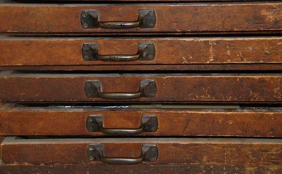 Drawers, Old, Antique, Wood, Handle, Metal, Grain, Drag