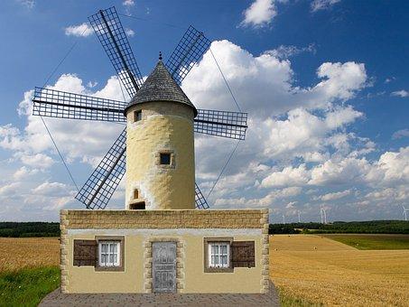 Windmill, Clouds, Mill, Old Windmill, Sky, Flour Mill