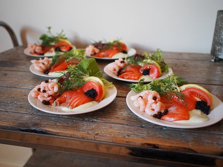 Salmon, Citrusmarineret Salmon, First Course, Prawns