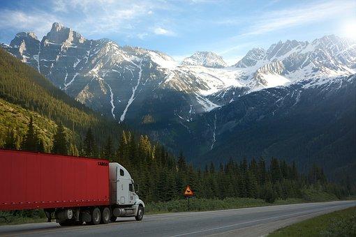 Truck, Road, Shield, Warning, Canada, Sun, Mountains