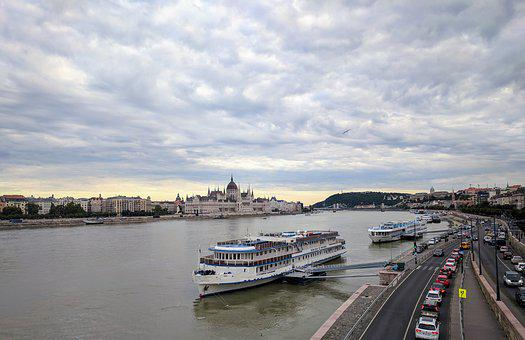Budapest, Danube, River, Sky, Clouds, Parliament