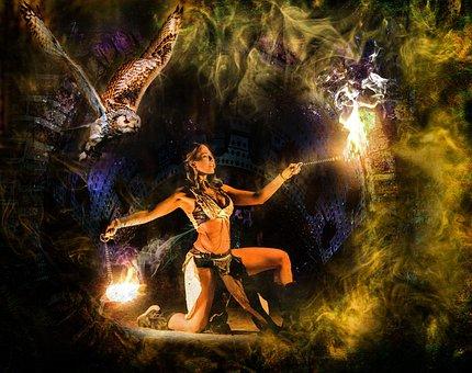 Girl, Dance, Fire, Smoke, Mystery, Mystic, Woman