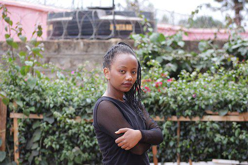 Beautiful, Kenyan, African Lady, Hands Folded, Upset