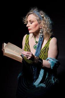 Mature Woman, Story Teller, Reading, Book, Storyteller