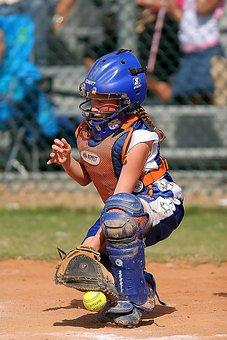 Softball, Catcher, Player, Action, Ball, Fielding