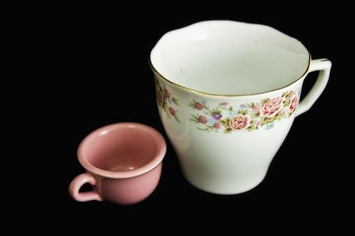 Tea Cup, Cup, Roses, Miniature, China, Porcelain, Pink