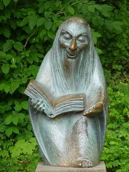 Storytellers, Sculpture, Fig, Statue, Fairy Tales, Book