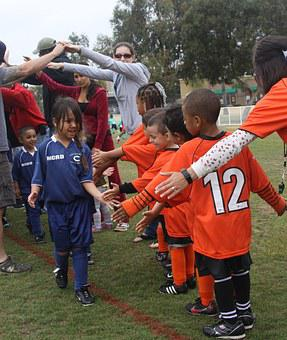 Children, Football Match, Sportsmanship, Smile