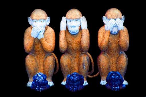 Monkey, Evil, See, Hear, No, Say, Cartoon, Funny, Humor