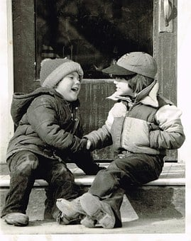 Young, Shaking, Hands, Retro, Old Picture, Children