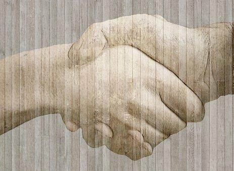 Handshake, Hands, Wood, Fence, Border, Grunge, Brown