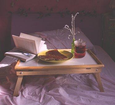 Breakfast, Food, Sunlight, Lavender, Flowers, Bed