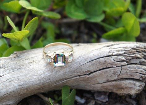 Gold Ring, Crystal, Driftwood, Gold, Ring, Luxury
