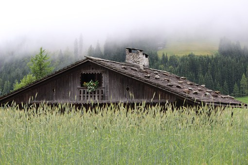 Mountain Hut, Log Cabin, Wood Shingle Roof, Rye