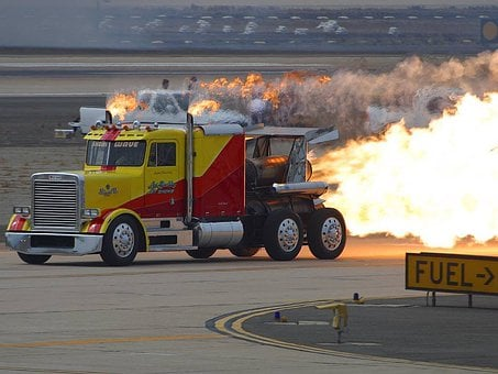 Truck, Speed, Nozzle, Jet Engine, Fire, Flame, Fast