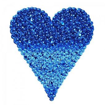 Hearts, Shapes, Blue, Crystals, Stones, Shining, Shiny