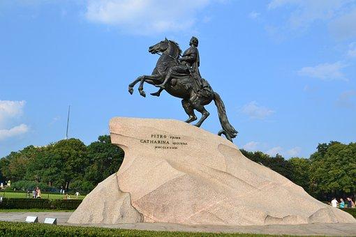 St Petersburg, Russia, Petersburg, Monument, Statue