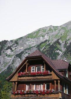 Swiss Farmhouse, Mountains, Chalet, Switzerland, Land
