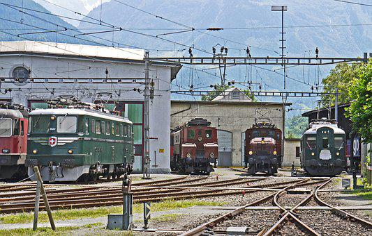 Sbb Historic, Depot Of Erstfeld, Uri, Switzerland