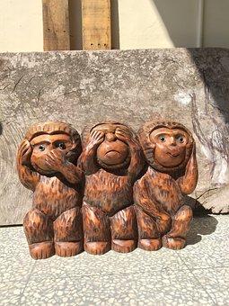 Three Monkeys, Monkey, Wood Head, Three No Monkey
