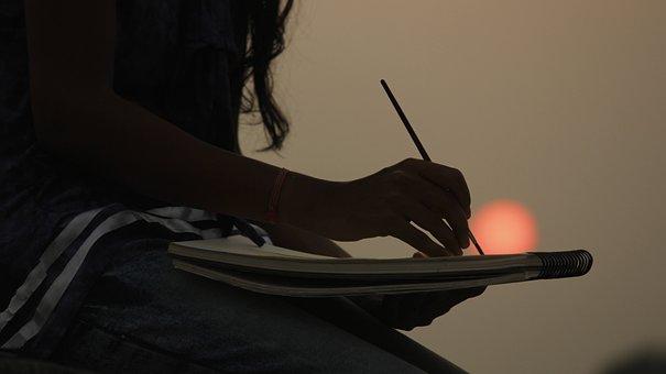 Art, Painting, Sunset, Dawn, Sun, Brush, Colors