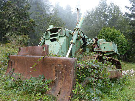 Excavator, Abandoned, Old, Caterpillar, Rusty