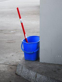 Plastic, Bucket, Blue, Cleaning, Work, Cleanup