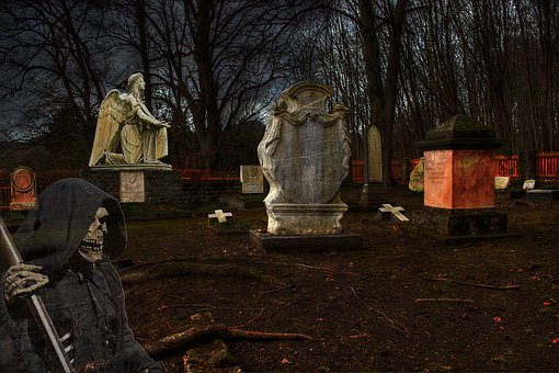 Cemetery, Dark, Grave Stones, Angel, Death, Creepy