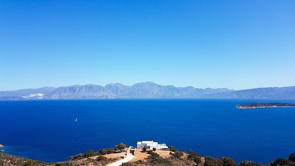 Sea, Mountains, View, Horizon, The Deep Blue Water