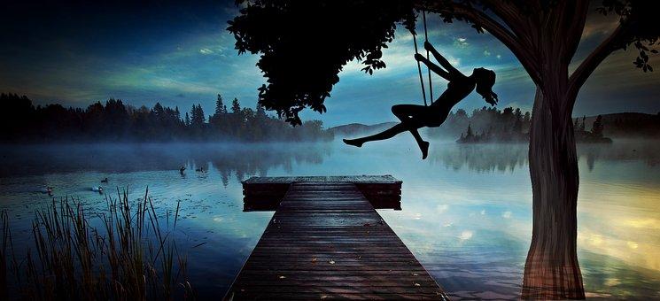 Girl, Woman, Swing, Lake, Web, Abendstimmung, Tree, Log