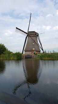 Mill, Reflection, Kinderdijk, Wind Mill, Landscape