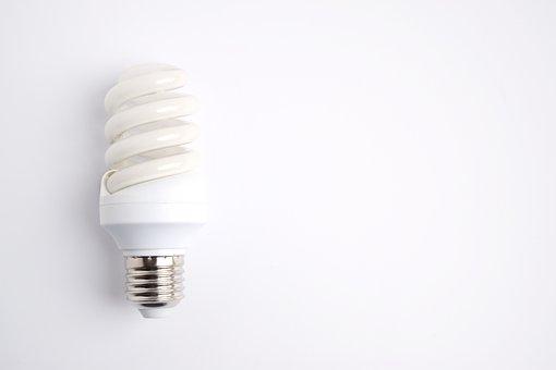 Lightbulb, Electricity, Copy Space, White, Background