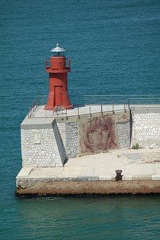 Lighthouse, Mural, Port, Water, Sea, Artwork