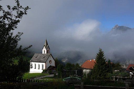 Church, Homes, Fog, Building, Nature, Steeple, Sky
