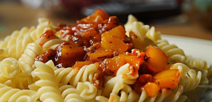 Noodle, Sauce, Spiral, Tomato Sauce, Herbs, Paprika