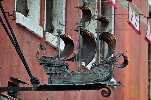 Ship, Sailing Vessel, Bronze, Decoration