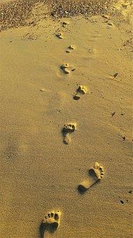 Footprints, Beach, Sunrise, Greece, Koroni