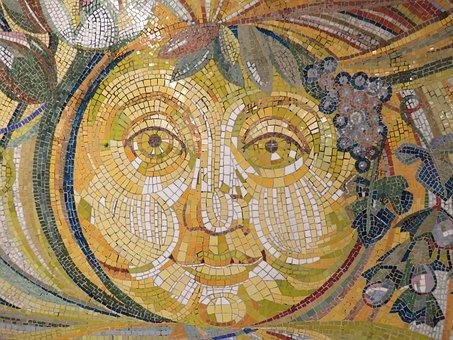 Sun, Wall Art, Mosaic Stones, Tiles Stones, Stones