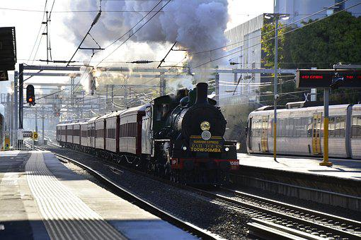 Brisbane, Train, Steam, Travel, Australia, Road