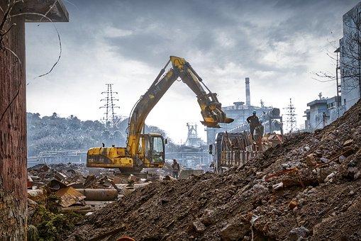 Urbanization, Industrial Area, Excavators, Demolition