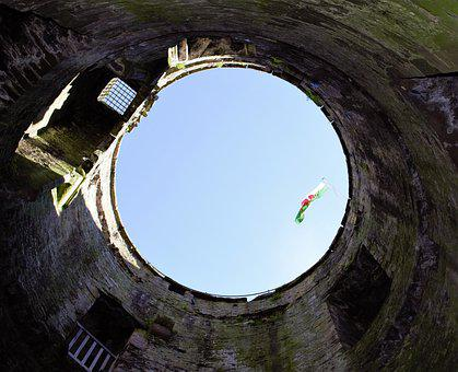Castle Tower, Wales Flag, Wales, Castle, Circular Tower