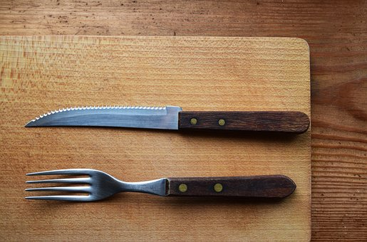 Knife And Fork, Cutting Board, Wooden, Kitchen, Cutlery