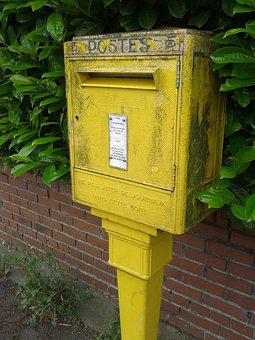 Mailbox, Yellow, Post, Slot, Map, Letter, Letters, Ptt