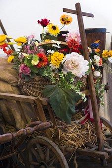 Flowers, Bouquet, Decoration, Deco, Cart, Stroller