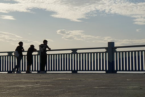 Three, People, Girls, Boys, Fun, Sunrise, By Ocean