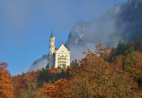 Autumn, Castle, Kristin, Neuschwanstein Castle, Fog